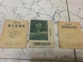苏联画库; 托尔斯泰的故乡、斯大林画传、却柯夫斯基音乐院(三本合售15元)缺封面封底