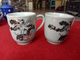 怀旧收藏 八十年代陶瓷水杯 松鹤延年图案 一对两只 高9cm直径8cm