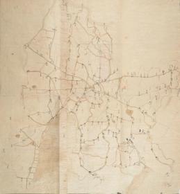 《常州老地图》《常州地图》,清道光《常州村镇道路桥梁图》绘制详细,请看图片。原图现藏国外,原图高清复制。开幅巨大84*89CM,裱框后,风貌好。