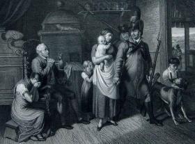"""1869年维也纳画廊钢板画系列 —《军人告别》 """"Peter Krafft""""作品26.5x21.5cm"""