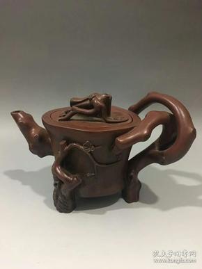 冯桂林款梅桩紫砂壶11x18