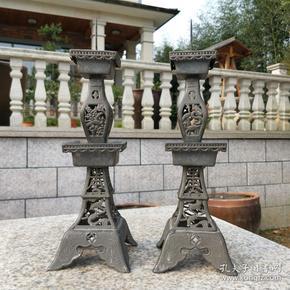 清代老锡器精品锡烛台结婚嫁妆蜡烛台会所装饰收藏
