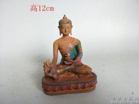 清代传世老添彩琉璃佛像22