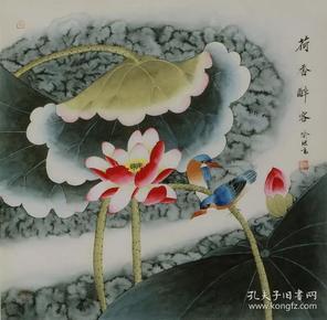 名家喻继高花鸟工笔国画荷花翠鸟纯手绘