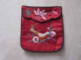 民国老刺绣品老钱包手绘儿童花鸟荷花图布兜收藏历史记忆民风民俗