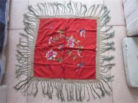 清代民国手工老刺绣手绘蝴蝶牡丹花图装饰品收藏历史记忆民风民俗