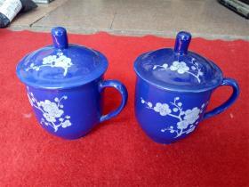 怀旧收藏 八十年代陶瓷水杯 蓝底白色桃花图案 高13cm杯口直径8.5cm