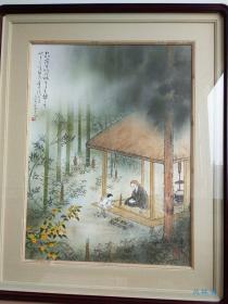 良宽草庵图 水江东穹彩墨画 日本当代艺术家 真迹 附进口实木框