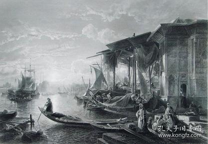 """1856年艺术日志系列(铜/钢)版画《君士坦丁堡金角湾》  —""""j.jacobs""""作品 尺寸:32x24cm"""