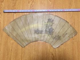 清代日本扇面画作一幅,作者辨认不清