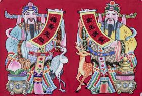 著名畫家、綿竹年畫博物館館長 侯世武 年畫原稿《鹿鶴同春》一幅  HXTX103671