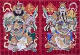 著名畫家、中國美協會員 鐘文斌 年畫原稿《百福百壽》一幅 附出版物一頁  HXTX103677