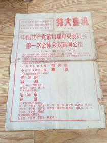 特大喜讯(文革布告)——黑龙江日报(1969年4月28日)中国共产党第九届中央委员会第一次全体会议新闻公报