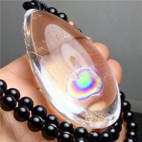 纯天然水晶吊坠,《彩虹》、《七彩生活》无优化无高温原汁原味,至纯至净非常稀有罕见,难得一件,收藏之珍品