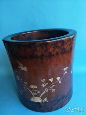 早期----黃花梨 海螺鑲嵌 筆筒,紋理木清晰 ,鑲嵌漂亮,包漿極好 , 收藏品   重30斤多