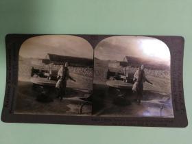 【清代立体照片】清代东北满洲女人和驴拉磨在劳动中的生活场景照片
