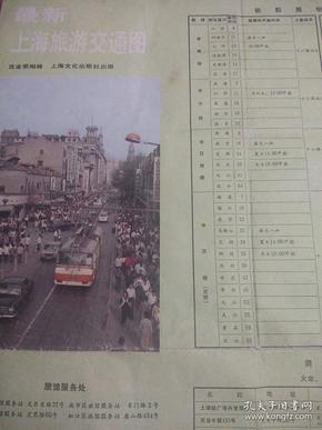 最新上海旅游交通图1987年9月第一版