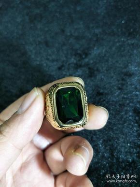 金戒指、久不退色【绿锆石戒指面】个性大戒指,指环!