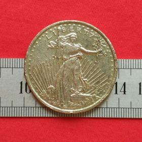 旧铜美国旧钱币二十美元自由女神背面鹰1933硬币铜章铜币珍藏收藏