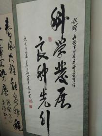 张廷武(内蒙古政府副主席)题词 科学发展。。。四尺宣纸立轴