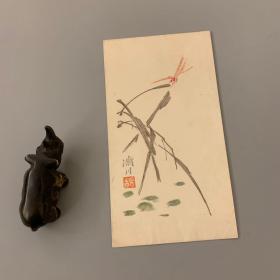 杨济川小品画 套色木版水印信封 上世纪60年代前后制作 尺寸17x9.3cm