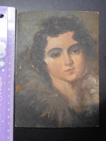【早年纸板油画,人物】尺寸:17.3×12.2厘米