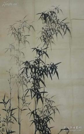 【扬州八怪之一】清代书画家、郑板桥《竹石图》一幅,有拍卖证书