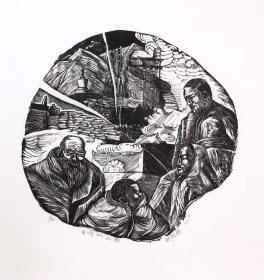 林广国木刻小版画日喀则记忆