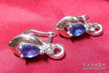 旧铜鎏银带款镶嵌杏状宝蓝色料饰穿钉式耳环旧货物件女士耳饰件一对2件