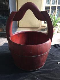 民俗老物件带柄老式水桶木桶古玩古董木器