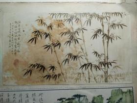名家剪贴画,有一张著名画家竺大炘,画稿老照片,老剪贴画5张都是贴在一张纸板上反正面