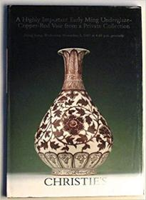 A Highly Important Early Ming Underglaze-Copper-Red Vase from a Private Collection