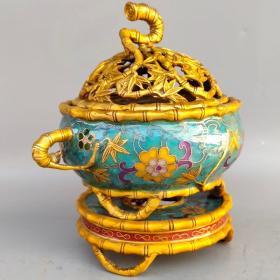 铜胎景泰蓝珐琅彩三体竹节炉尺寸如图,重1680克