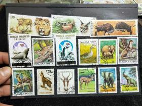 【保真】精美动物邮票,外国动物邮票,一板19枚,送邮票存放卡。信销票。带戳票。04号..