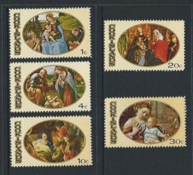 库克群岛邮票 1969年 圣诞节 耶稣诞生 圣家族 朝拜耶稣等 5全新