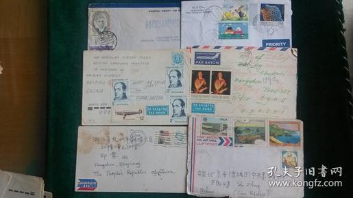 国外寄杭州实寄封6枚