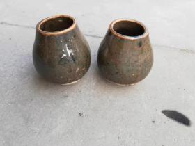 老瓷罐拔火罐一对6厘米*5厘米*3厘米