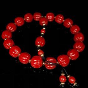 清晚期喜马拉雅山雪巴红老琉璃瓜珠十八子佛珠手串