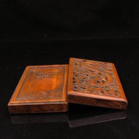 晚清老花梨木透镂空雕刻龙纹木砚台 一个,长18 宽11.5 厚4 厘米;