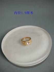 少见天然白宝石老凤祥戒指