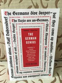 The German Genius: Europe's Third Renaissance, the Second Scientific Revolution, and the Twentieth Century by Peter Watson - 德国天才:第三次文艺复兴  厚本