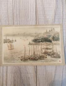 50年代年画小画片:上海港的早晨(名家钱瘦铁绘)