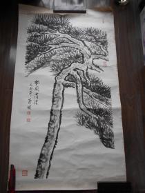 """【尹寿国,国画""""松风高洁""""】尺寸:109×56.5厘米"""