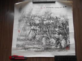 """【郭畏新,国画""""皖南山村""""】尺寸:50×47厘米"""