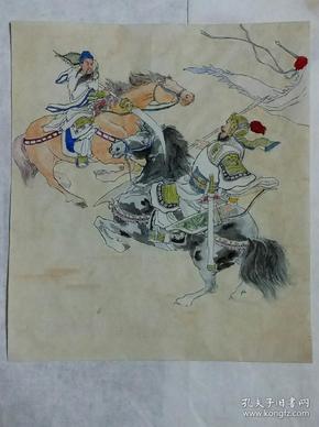 三国演义连环画《虎牢关》封面原稿彩绘