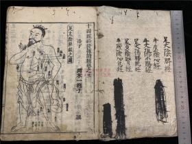 江户早期医书和刻《十四经络和语钞》存1册3、4卷,冈本一抱子和解,有针灸穴位铜人图等木刻图