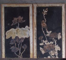 清代民国时期花卉纹木板  2只,   很漂亮!