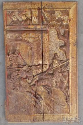清代刀马人雕花漆金木板  1只,   很漂亮!