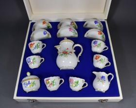 【西洋古董】德国顶级奢侈品牌梅森咖啡具套装 原盒原装,品相完美 盒子自然旧,无损