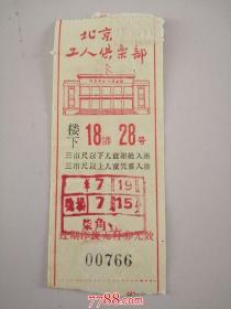 北京工人俱乐部:楼下18排28号(背面有毛主席语录,票价柒角)